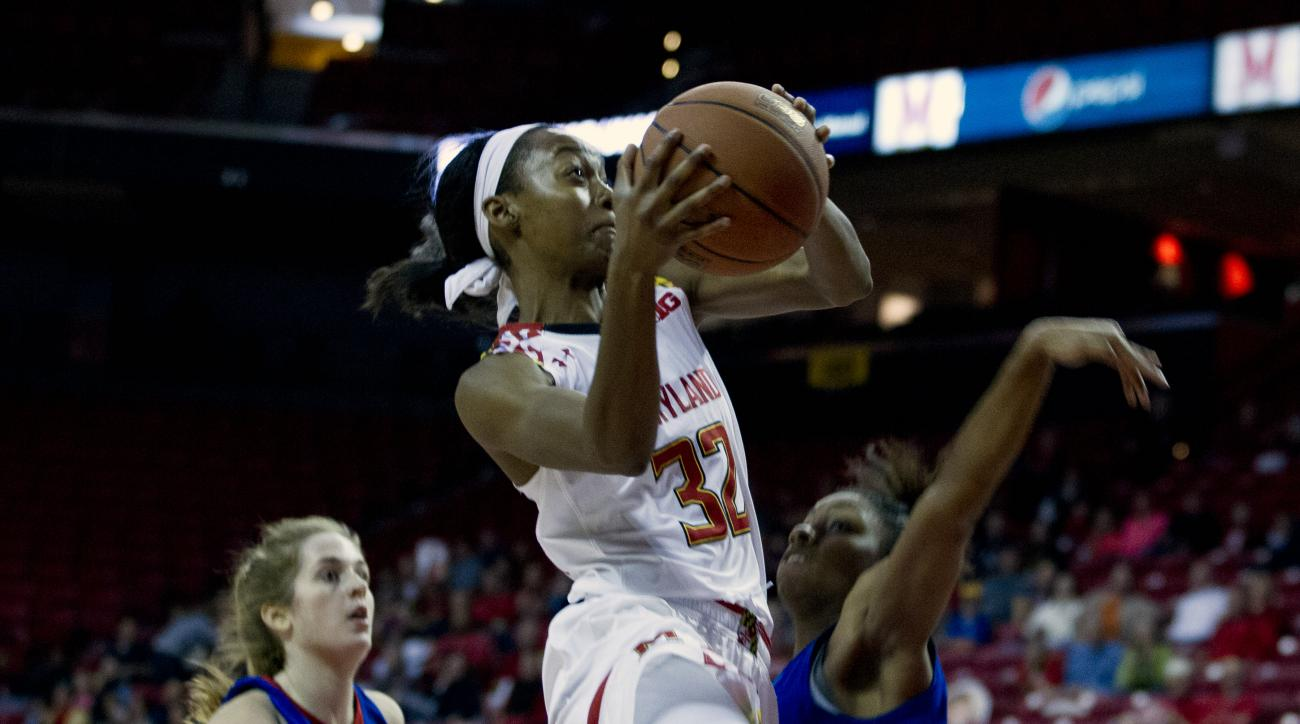 Maryland's S. Walker-Kimbrough (32) goes for the basket as UMass Lowell's Nazarene Butler (22) defends during the first half of an NCAA college basketball game at Xfinity Center in College Park, Md., Saturday, Nov. 14, 2015. (AP Photo/Jose Luis Magana)