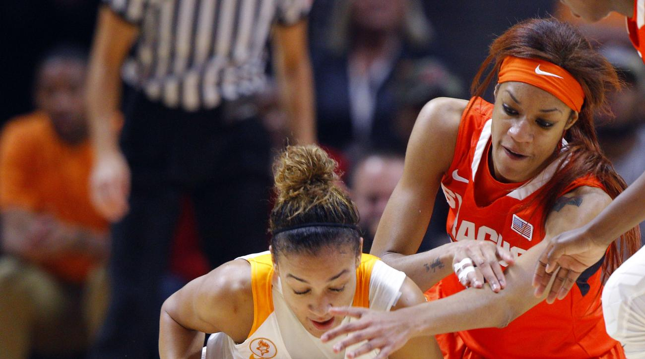 Tennessee guard Andraya Carter (14) battles the ball away from Syracuse center Briana Day (50) in the first half of an NCAA college basketball game Friday, Nov. 20, 2015, in Knoxville, Tenn. (AP Photo/Wade Payne)