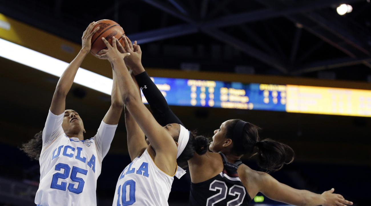 South Carolina forward A'ja Wilson, right, battles UCLA forwards Monique Billings, left, and Kacy Swain for a rebound during the first half of an NCAA college basketball game in Los Angeles, Sunday, Nov. 22, 2015. (AP Photo/Chris Carlson)