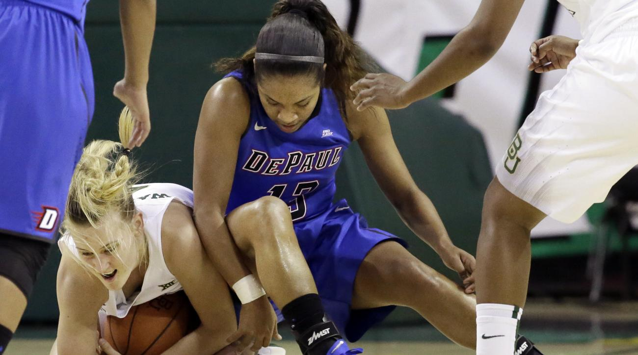 Baylor guard Kristy Wallace, left, grabs the ball against DePaul guard Chanise Jenkins (13) during the second half of an NCAA college basketball game Sunday, Nov. 22, 2015, in Waco, Texas. (AP Photo/LM Otero)