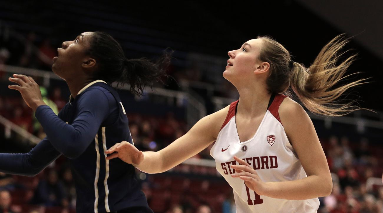 Stanford's Alanna Smith, right, waits for a rebound during the first half of an NCAA college basketball game against George Washington, Saturday, Nov. 21, 2015, in Stanford, Calif. The freshman from Australia is the first international recruit for the Car