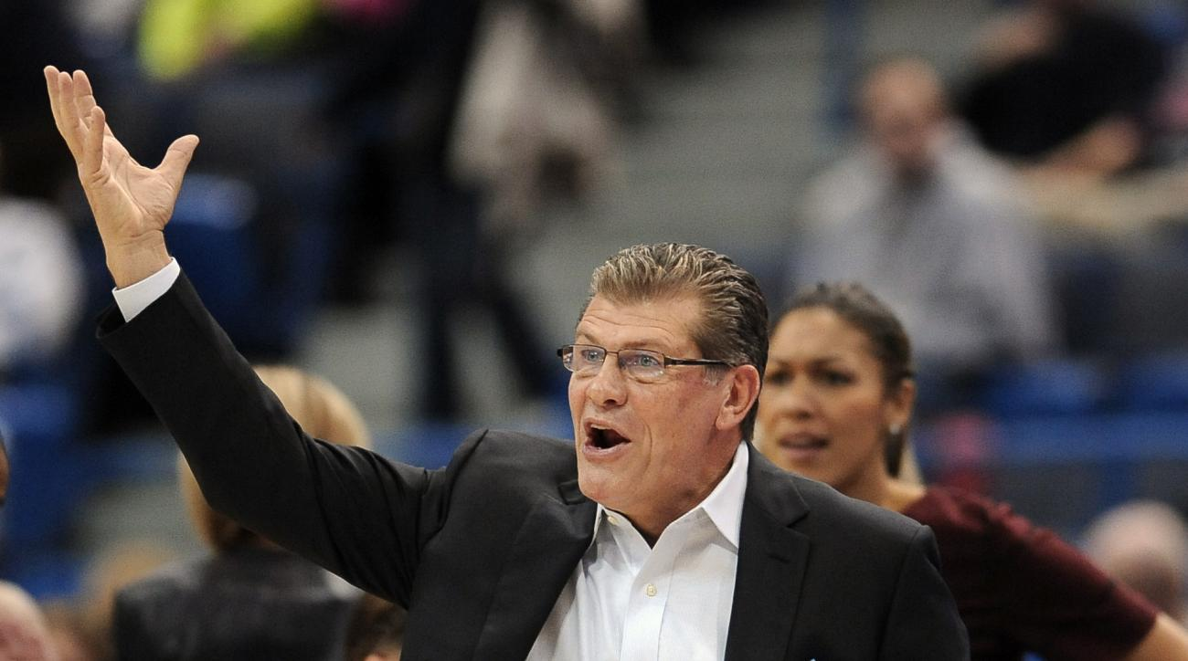 Connecticut head coach Geno Auriemma reacts during the first half of an NCAA college basketball game against Nebraska, Saturday, Nov. 28, 2015, in Hartford, Conn. (AP Photo/Jessica Hill)