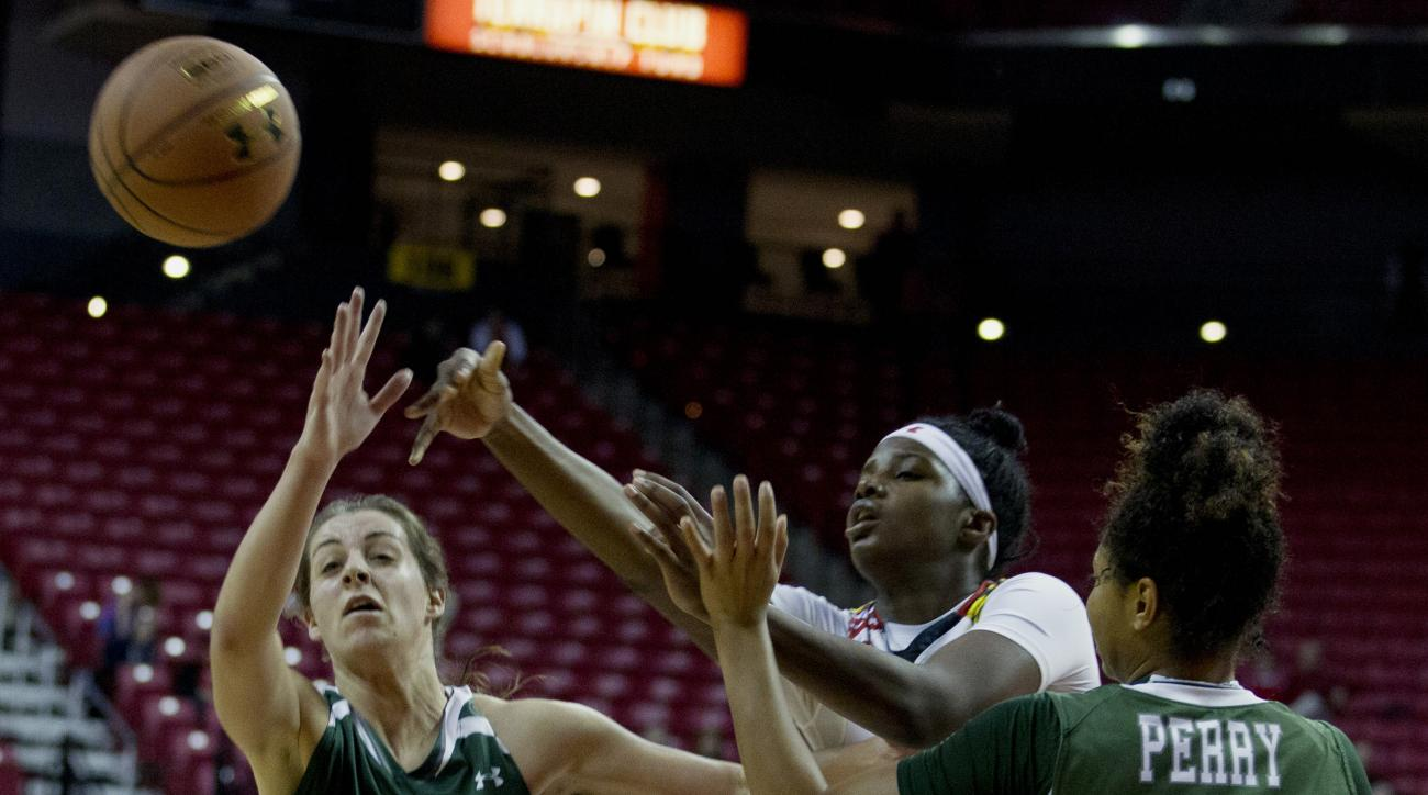 Maryland's Brianna Fraser, center, passes the ball as Loyola's Carly Monzon (33) defends during the first half of an NCAA college basketball game in College Park, Md., Tuesday, Dec. 8, 2015. (AP Photo/Jose Luis Magana)
