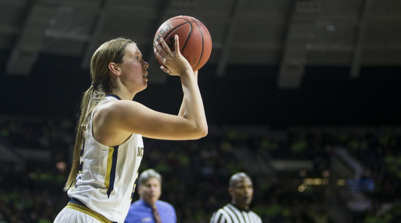 Notre Dame's Madison Cable (22) shoots a three-pointer during the first half of an NCAA college basketball game against DePaul on Wednesday, Dec. 9, 2015, in South Bend, Ind. (AP Photo/Robert Franklin)