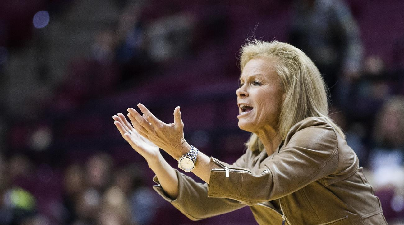 In this Nov. 19, 2015 file photo, Florida State coach Sue Semrau shouts instructions during the first half of her team's NCAA college basketball game against Tulane in Tallahassee, Fla. No. 11 Florida State is looking at Friday, Dec. 11, 2015 game against