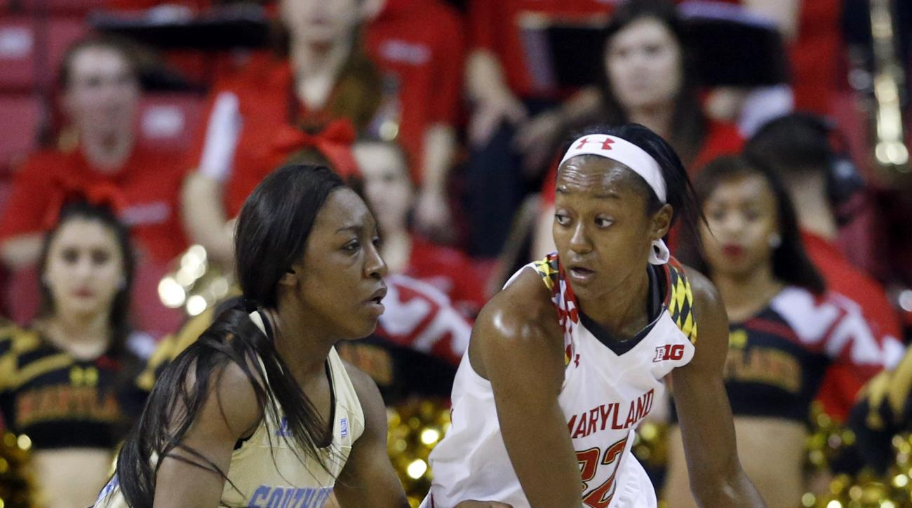 Maryland guard Shatori Walker-Kimbrough, right, drives against Southern University guard Ashley Williams in the first half of an NCAA college basketball game, Friday, Dec. 11, 2015, in College Park, Md. (AP Photo/Patrick Semansky)