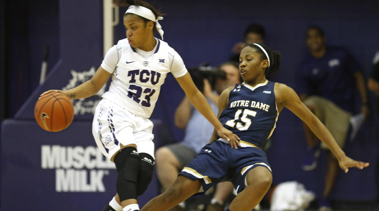 Notre Dame guard Lindsay Allen (15) attempts to draw a foul against TCU guard AJ Alix (23) during the first half of an NCAA college basketball game, Saturday, Dec. 12, 2015, in Fort Worth, Texas. (AP Photo/Ron Jenkins)