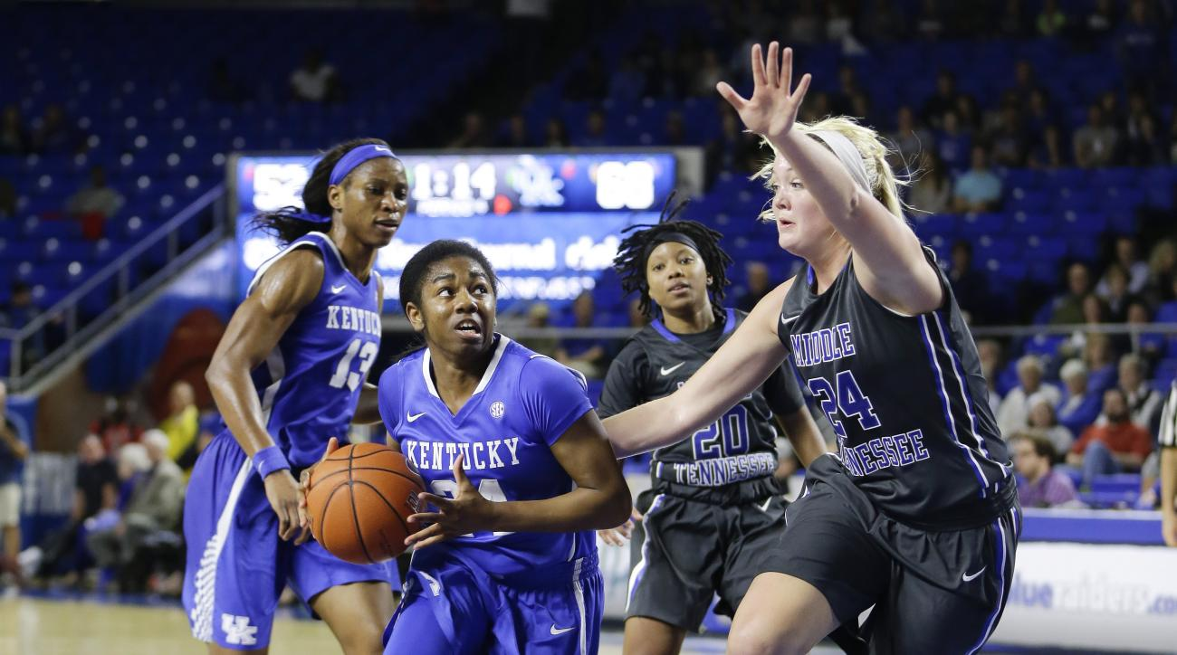 Kentucky's Taylor Murray, front left, drives against Middle Tennessee's Rebecca Reuter front right, in the second half of an NCAA college basketball game Sunday, Dec. 13, 2015, in Murfreesboro, Tenn. Kentucky won 68-52. (AP Photo/Mark Humphrey)