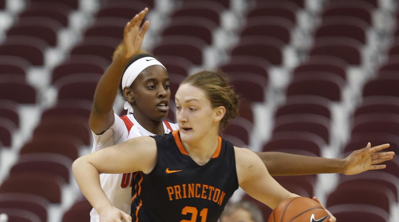 Princeton's Alex Wheatley, right, posts up against Ohio State's Alexa Hart during the first half of an NCAA college basketball game Friday, Dec. 18, 2015, in Columbus, Ohio. (AP Photo/Jay LaPrete)