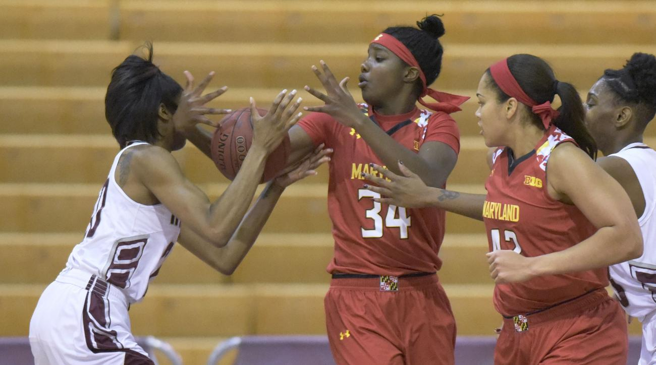 From left to right, Maryland Eastern Shore forward Alexis Udoji, Maryland guard Brianna Fraser, Maryland center Brionna Jones, and Maryland Eastern Shore center Taryana Kelly vie for a ball in the first half of an NCAA college basketball game, Sunday, Dec