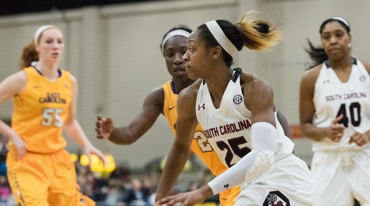 South Carolina guard Tiffany Mitchell (25) dribbles around East Carolina guard Khadidja Toure (2) during the first half of an NCAA college basketball game on Sunday, Dec. 20, 2015, in Myrtle Beach, S.C. (AP Photo/Sean Rayford)
