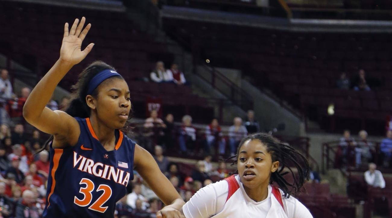 Ohio State's Asia Doss, right, drives the lane against Virginia's Mone Jones during the first half of an NCAA college basketball game Monday, Dec. 21, 2015, in Columbus, Ohio. (AP Photo/Jay LaPrete)