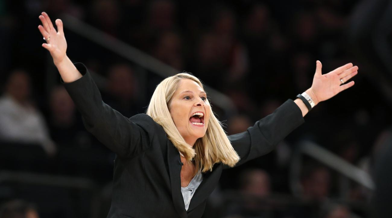 Maryland coach Brenda Frese gestures during the first half of the team's NCAA college basketball game against Connecticut at Madison Square Garden in New York, Monday, Dec. 28, 2015. (AP Photo/Kathy Willens)