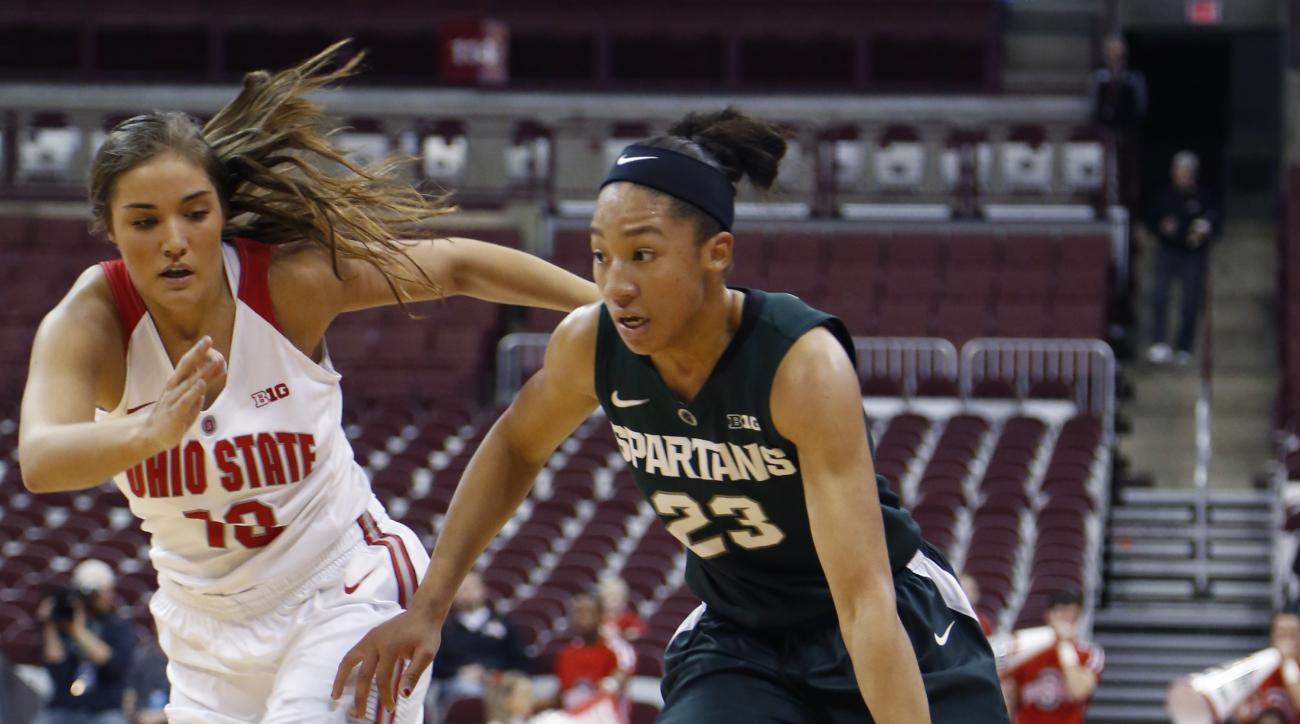 Michigan State's Aerial Powers, right, dribbles past Ohio State's Cait Craft during the first half of an NCAA college basketball game Thursday, Dec. 31, 2015, in Columbus, Ohio. (AP Photo/Jay LaPrete)