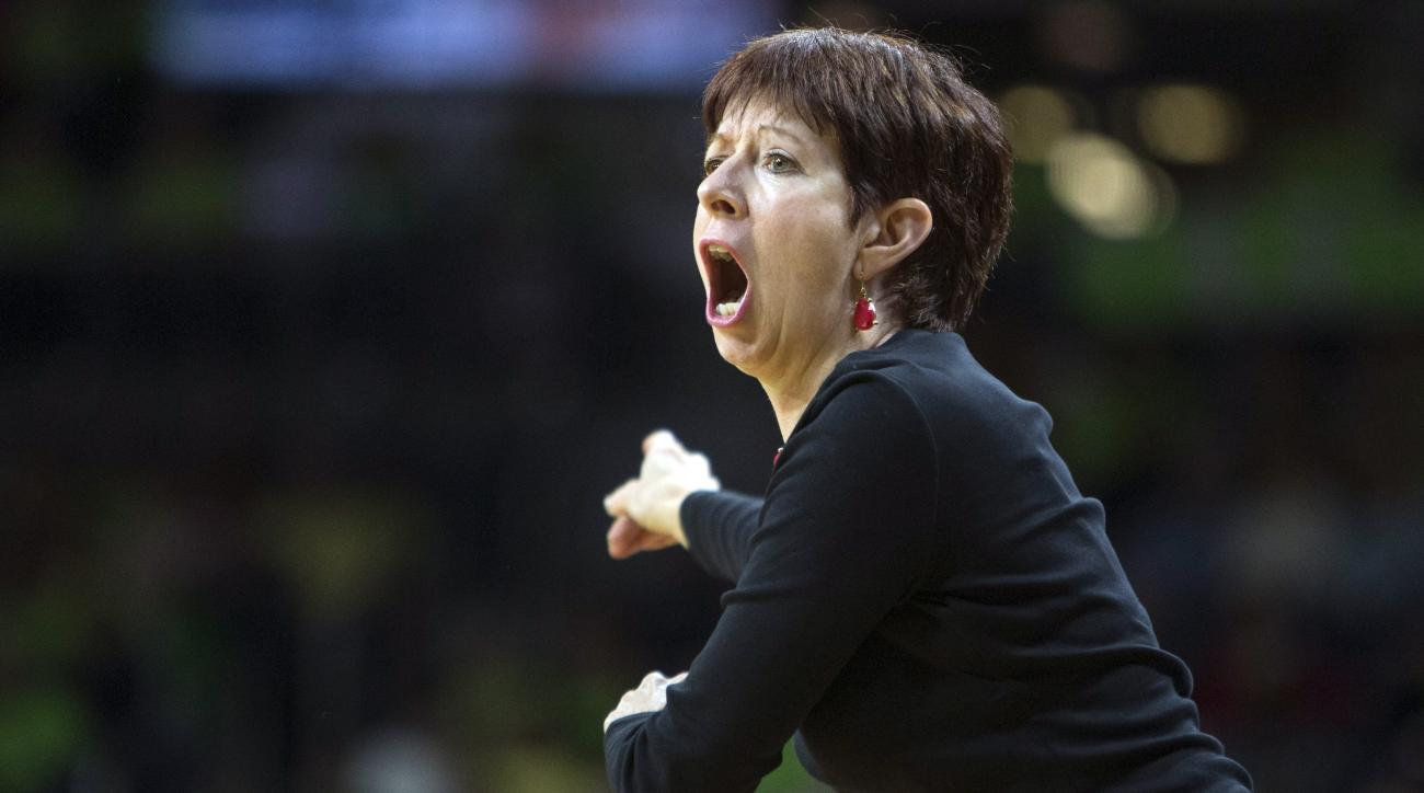 FILE - In this Dec. 9, 2015, file photo, Notre Dame head coach Muffet McGraw directs her players during the first half of an NCAA college basketball game against DePaul in South Bend, Ind. McGraw has built Notre Dame into one of the elite women's basketba