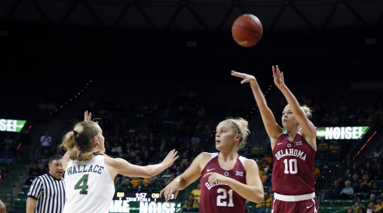Oklahoma guard Peyton Little (10) shoots past a screen by  teammate  guard Gabbi Ortiz (21), center, while Baylor guard Kristy Wallace (4) looks on, left, in the first half of an NCAA college basketball game, Sunday, Jan. 3, 2016, in Waco, Texas. (AP phot