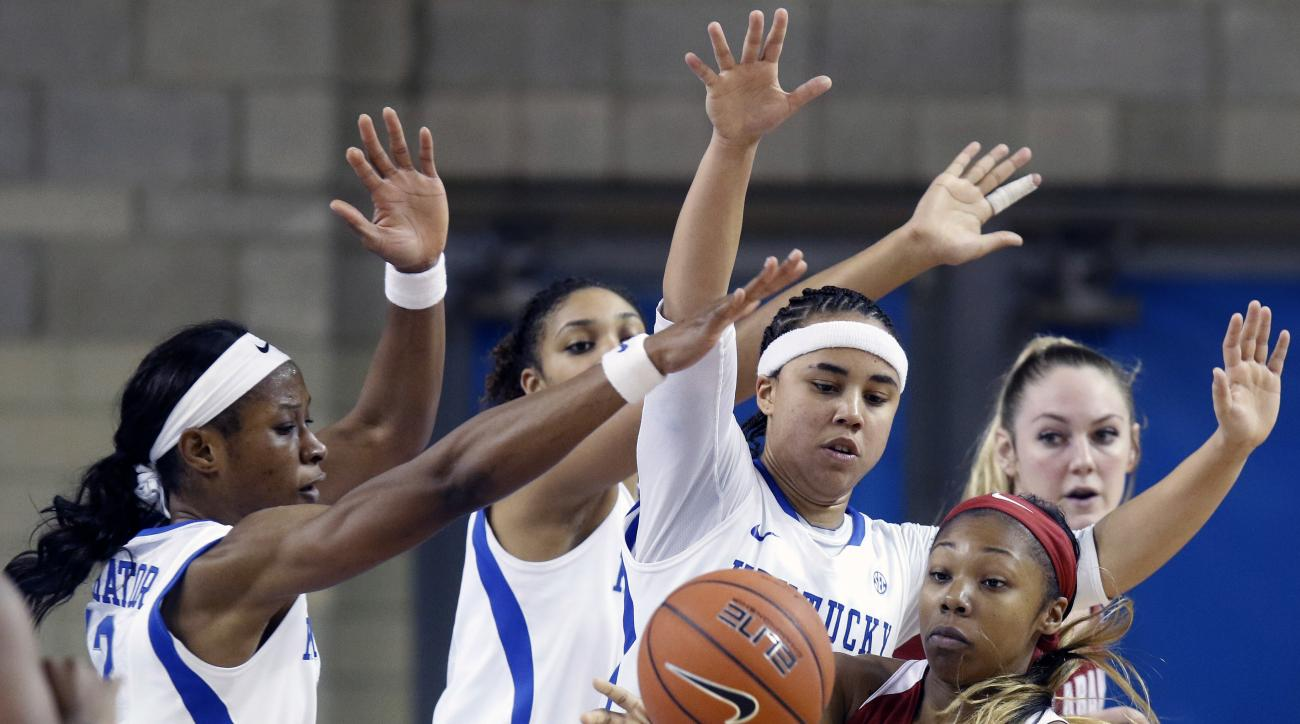 Alabama's Meoshonti Knight (15) passes away from Kentucky defenders, from left, Evelyn Akhator, Alyssa Rice and Makayla Epps during an NCAA college basketball game Thursday, Jan. 7, 2016, in Lexington, Ky. Kentucky won 73-48. (AP Photo/James Crisp)