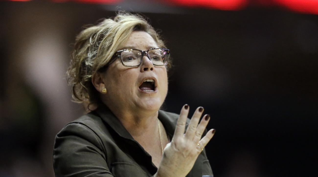 Vanderbilt coach Melanie Balcomb yells to her team during the second half of an NCAA college basketball game against South Carolina on Thursday, Jan. 7, 2016, in Nashville, Tenn. South Carolina won 71-61. (AP Photo/Mark Humphrey)