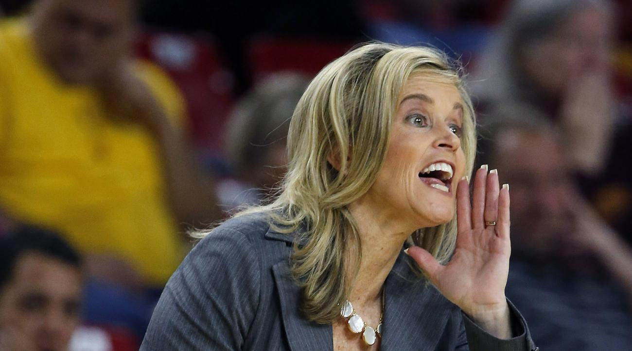 Arizona State head coach Charli Turner Thorne shouts instructions to her players during the first half of an NCAA college basketball game against Utah, Sunday, Jan. 17, 2016, in Tempe, Ariz. (AP Photo/Ross D. Franklin)