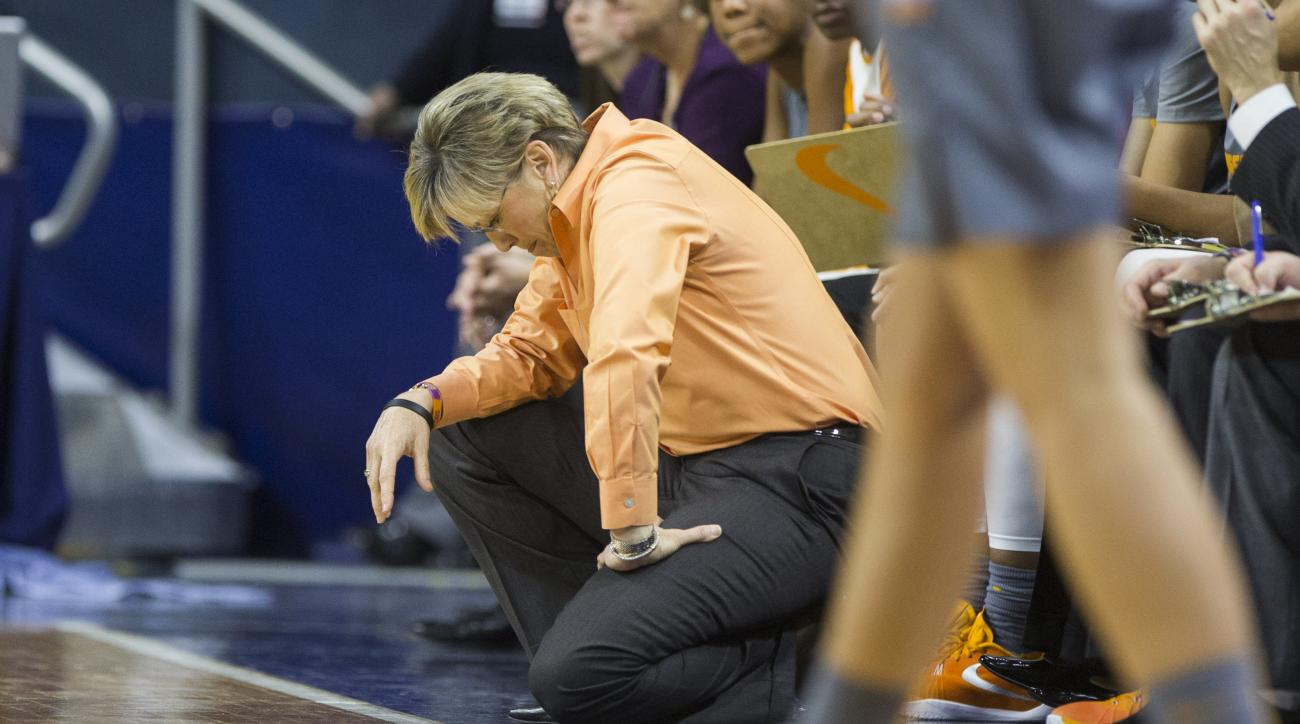 FILE - In this Jan. 18, 2016, file photo, Tennessee head coach Holly Warlick reacts as her team falls behind during the second half of an NCAA college basketball game, in South Bend, Ind. Tennessee is one of the signature programs in women's college baske