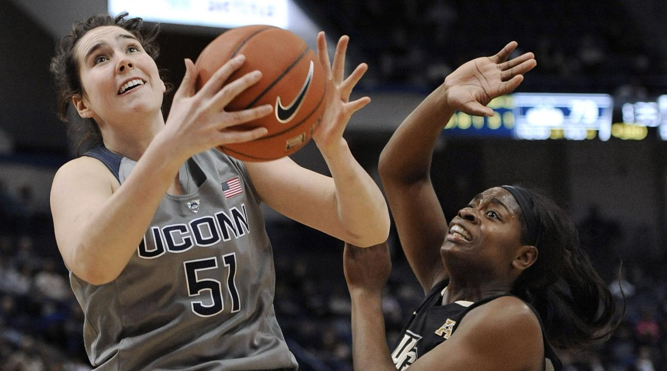 Connecticut's Natalie Butler looks for a shot against UCF's Tolulope Omokore, right, during the second half of an NCAA college basketball game Wednesday, Jan. 20, 2016, in Hartford, Conn. UConn won 106-51. (AP Photo/Jessica Hill)
