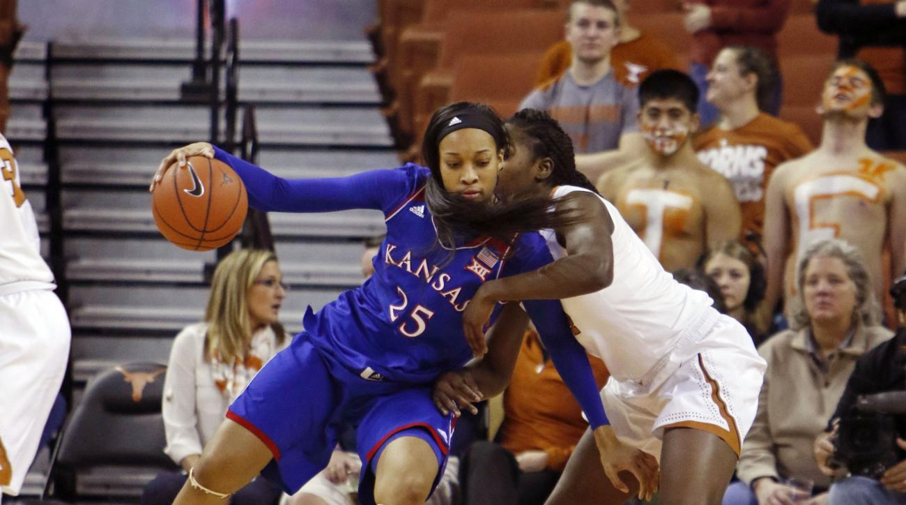 Kansas forward Caelynn Manning-Allen, left, backs toward the basket against Texas forward Olamide Aborowa, right, during the second half of an NCAA college basketball game, Wednesday, Jan. 27, 2016, in Austin, Texas.  Texas won 70-46. (AP Photo/Michael Th