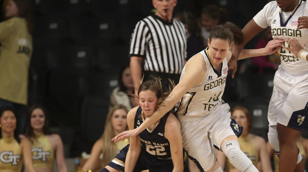 Notre Dame guard Madison Cable (22) and Georgia Tech forward Katarina Vuckovic (10) scramble for a loose ball in the second half of an NCAA college basketball game Thursday, Jan. 28, 2016, in Atlanta.  Notre Dame won 54-42. (AP Photo/John Bazemore)