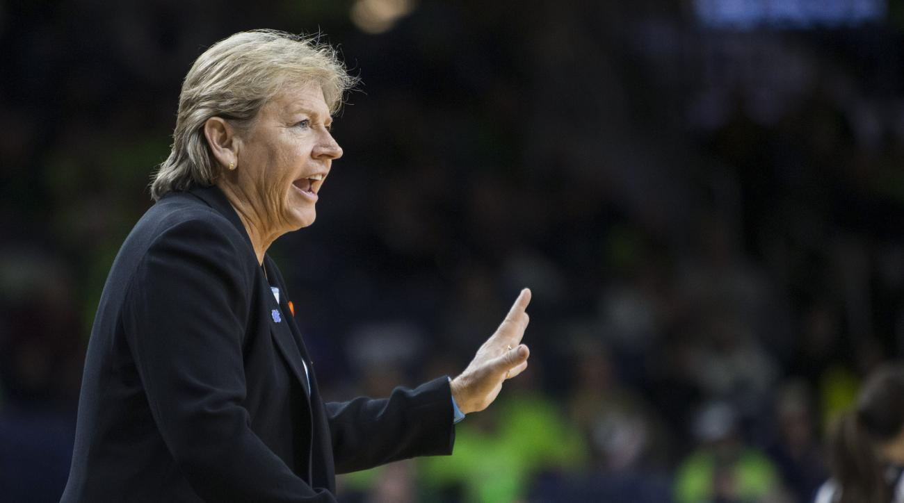FILE - In this Jan. 10, 2016, file photo, North Carolina coach Sylvia Hatchell talks to players during the first half of an NCAA college basketball game against Notre Dame in South Bend, Ind. Hatchell has been suspended for two games for making contact wi