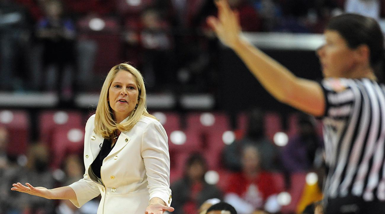 Maryland coach Brenda Frese reacts to a foul call in the first half of an NCAA college basketball game against Indiana, Saturday, Jan. 30, 2016, in College Park, Md. Maryland won 86-63. (AP Photo/Gail Burton)