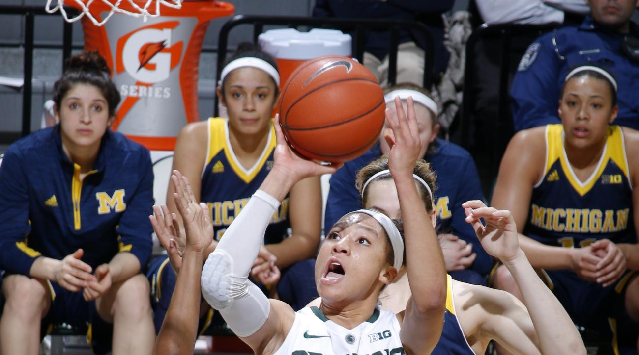 Michigan State's Aerial Powers (23) shoots against Michigan's Siera Thompson, left, and Hallie Thome, rear, during the second quarter of an NCAA college basketball game Wednesday, Feb. 3, 2016, in East Lansing, Mich. (AP Photo/Al Goldis)