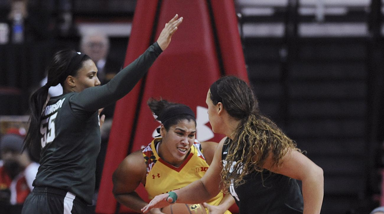 Maryland's Brionna Jones, center, grabs a rebound between Michigan State's Kennedy Johnson, left, and Jasmine Hines during the first half of an NCAA basketball game, Friday, Feb. 5, 2016, in College Park, Md. (AP Photo/Gail Burton)