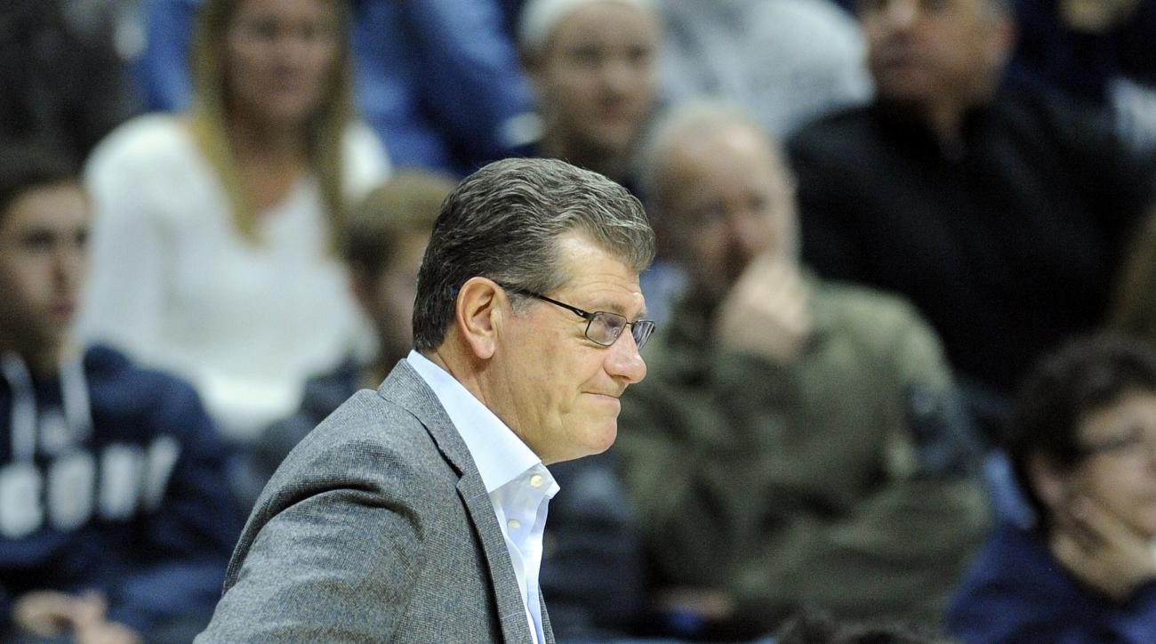 Connecticut head coach Geno Auriemma watches action during the second half of Connecticut's 92-46 victory over East Carolina in an NCAA college basketball game in Storrs, Conn., on Saturday, Feb. 6, 2016. (AP Photo/Fred Beckham)