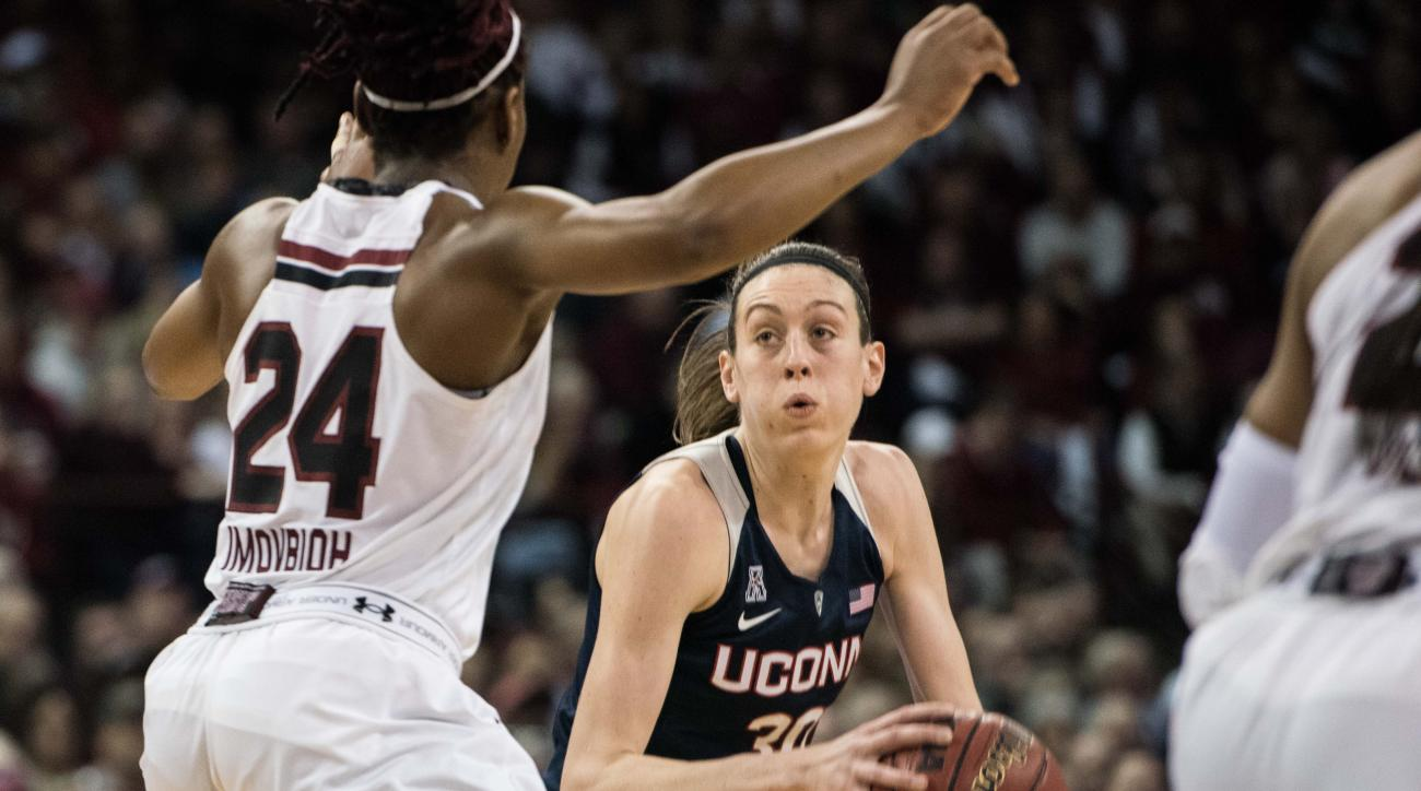 Connecticut forward Breanna Stewart (30) drives to the hoop against South Carolina forward Sarah Imovbioh (24) during the second half of an NCAA college basketball game Monday, Feb. 8, 2016, in Columbia, S.C. Connecticut defeated South Carolina 66-54. (AP