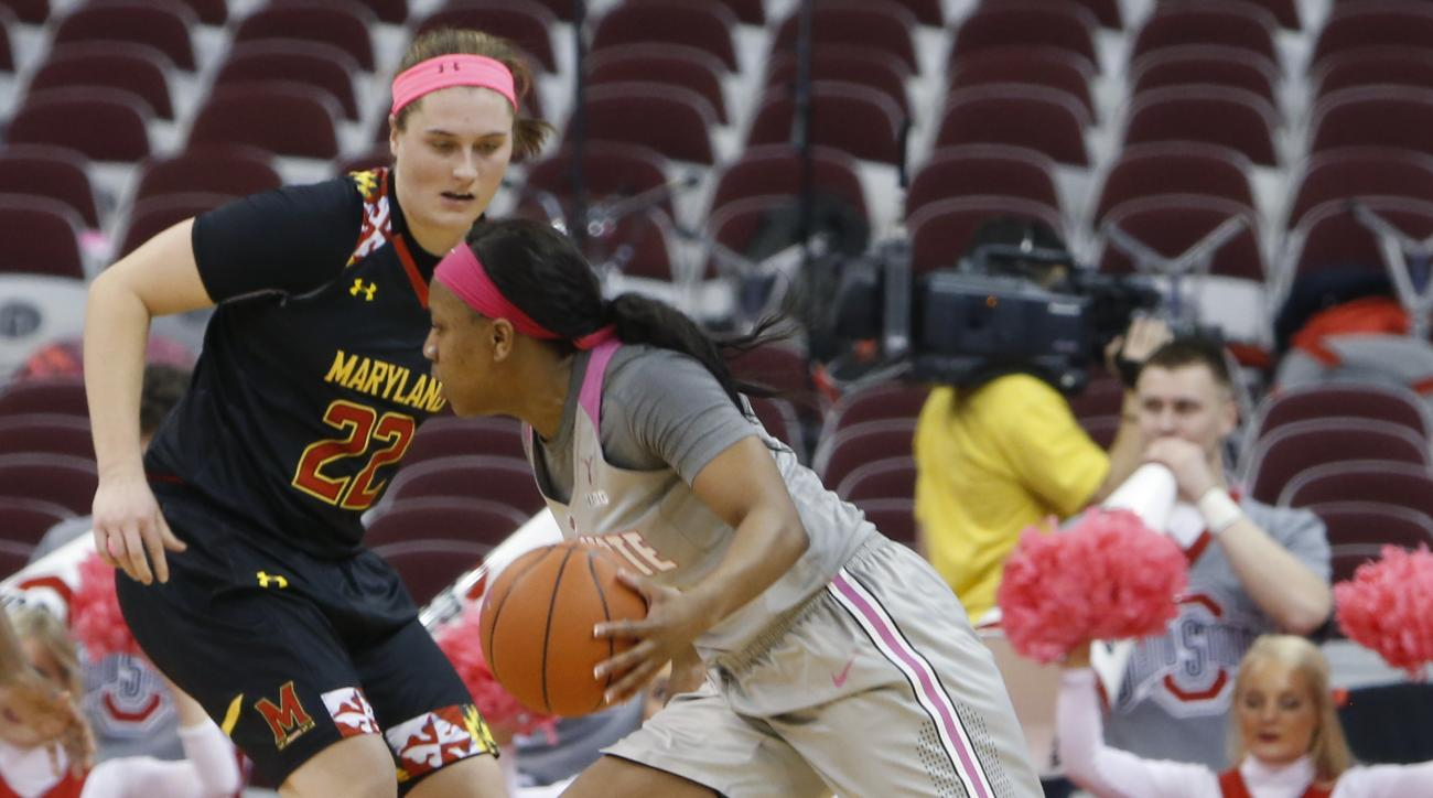 Ohio State's Ameryst Alston, right, tries to dribble past Maryland's Tierney Pfirman during the first half of an NCAA college basketball game Monday, Feb. 8, 2016, in Columbus, Ohio. (AP Photo/Jay LaPrete)