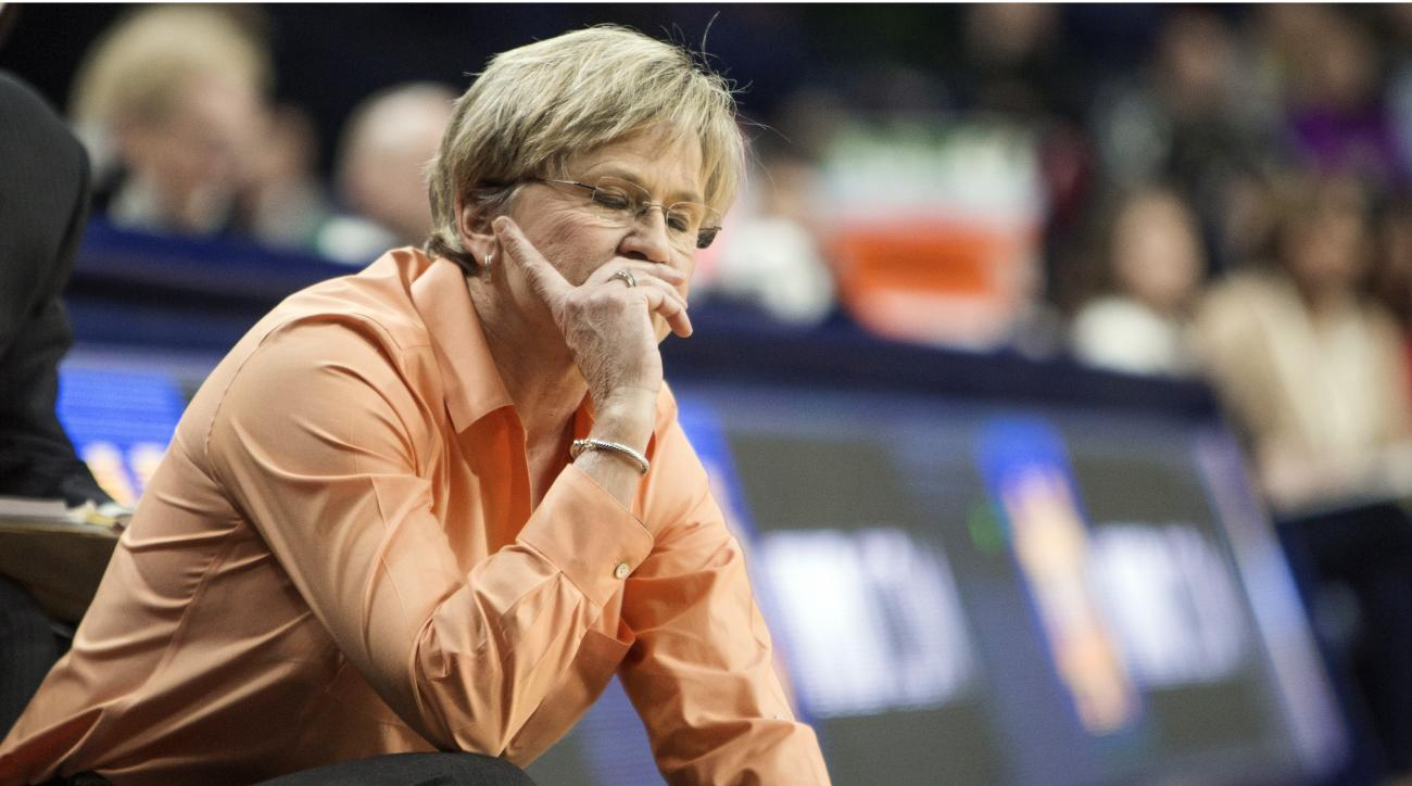 FILE - In this Jan. 18, 2016, file photo, Tennessee head coach Holly Warlick reacts on the sideline during the second half of an NCAA college basketball game against Notre Dame in South Bend, Ind. Tennessee has lost its last five road games and is at risk