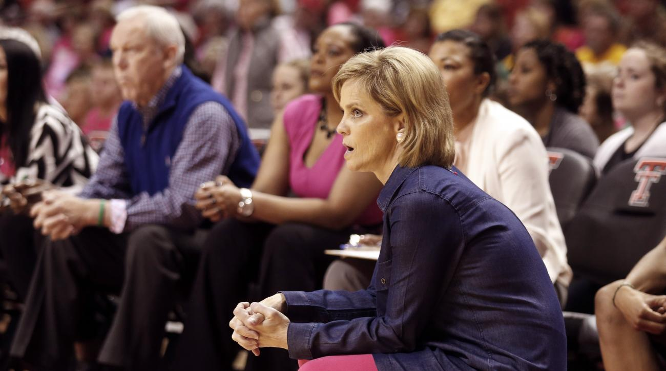 Baylor head coach Kim Mulkey watches her team from the bench during an NCAA college basketball game against Texas Tech, Saturday, Feb. 13, 2016, in Lubbock, Texas. (AP Photo/Mark Rogers)