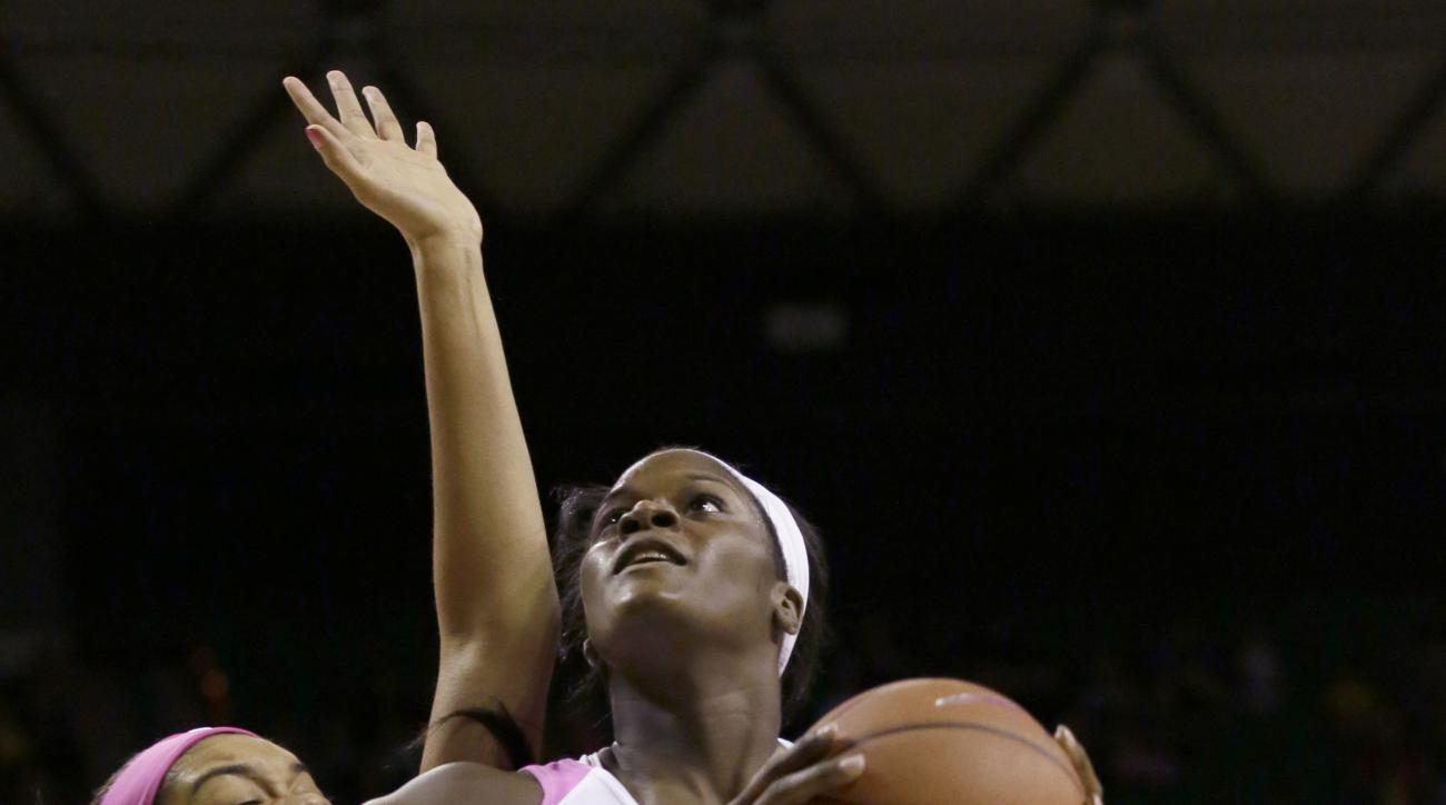 Baylor forward Kalani Brown, right, looks to shoot against Iowa State forward Meredith Burkhall, left, during the first half of an NCAA college basketball game Saturday, Feb. 20, 2016, in Waco, Texas. (AP Photo/LM Otero)