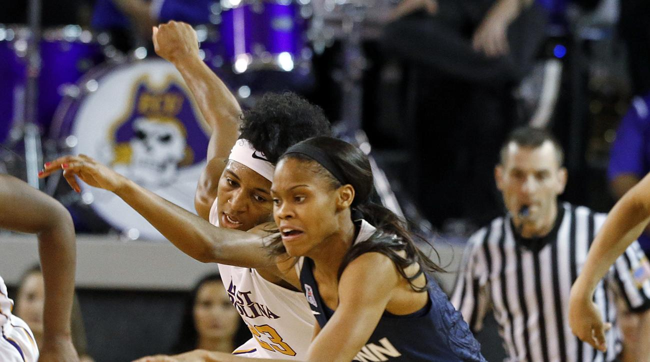 Connecticut's Moriah Jefferson (4) brings the ball down the court after taking it away from East Carolina's Jada Payne (23) during the first half of an NCAA college basketball game Saturday, Feb. 20, 2016, in Greenville, N.C. (AP Photo/Karl B DeBlaker)