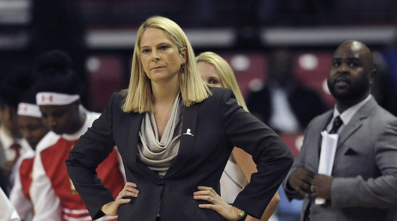 Maryland head coach Brenda Frese looks on against Wisconsin during the first half of an NCAA college basketball game, Thursday, Feb. 25, 2016, in College Park, Md.  (AP Photo/Gail Burton)