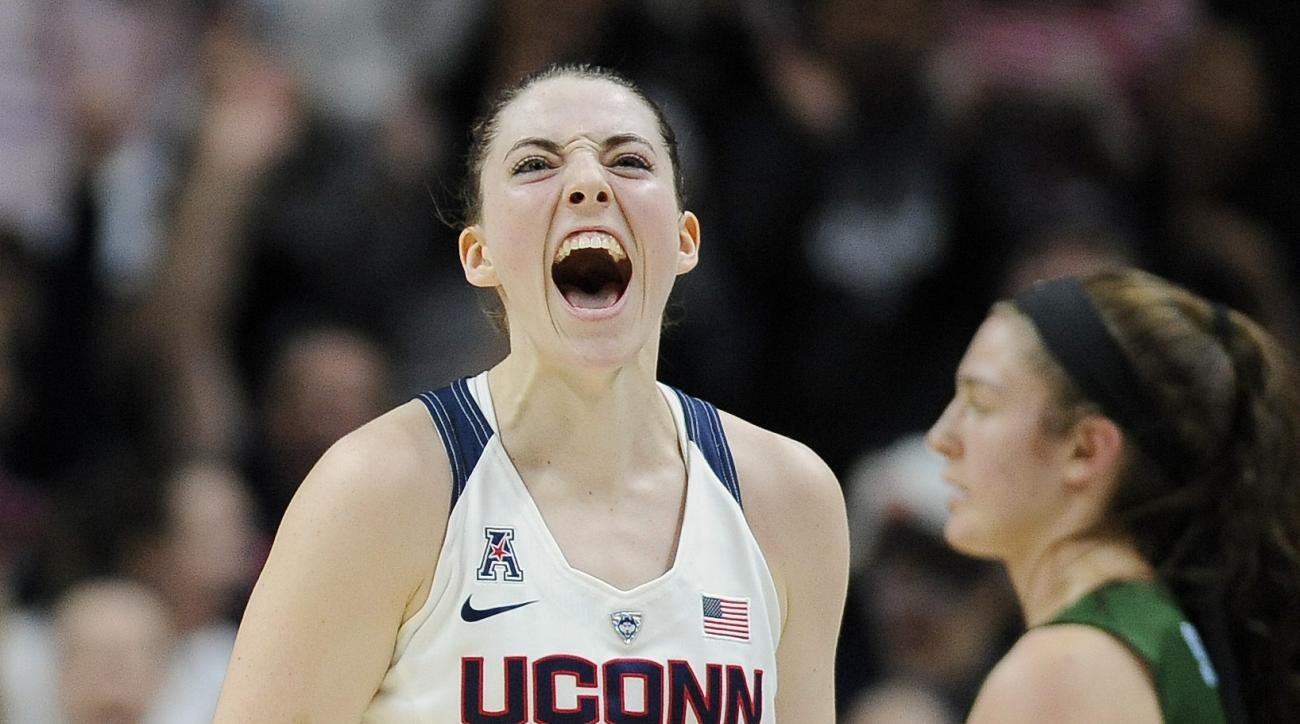 Connecticut's Katie Lou Samuelson reacts after hitting a 3-point basket at the buzzer at the end of the first half of an NCAA college basketball game against Tulane, Saturday, Feb. 27, 2016, in Storrs, Conn. (AP Photo/Jessica Hill)
