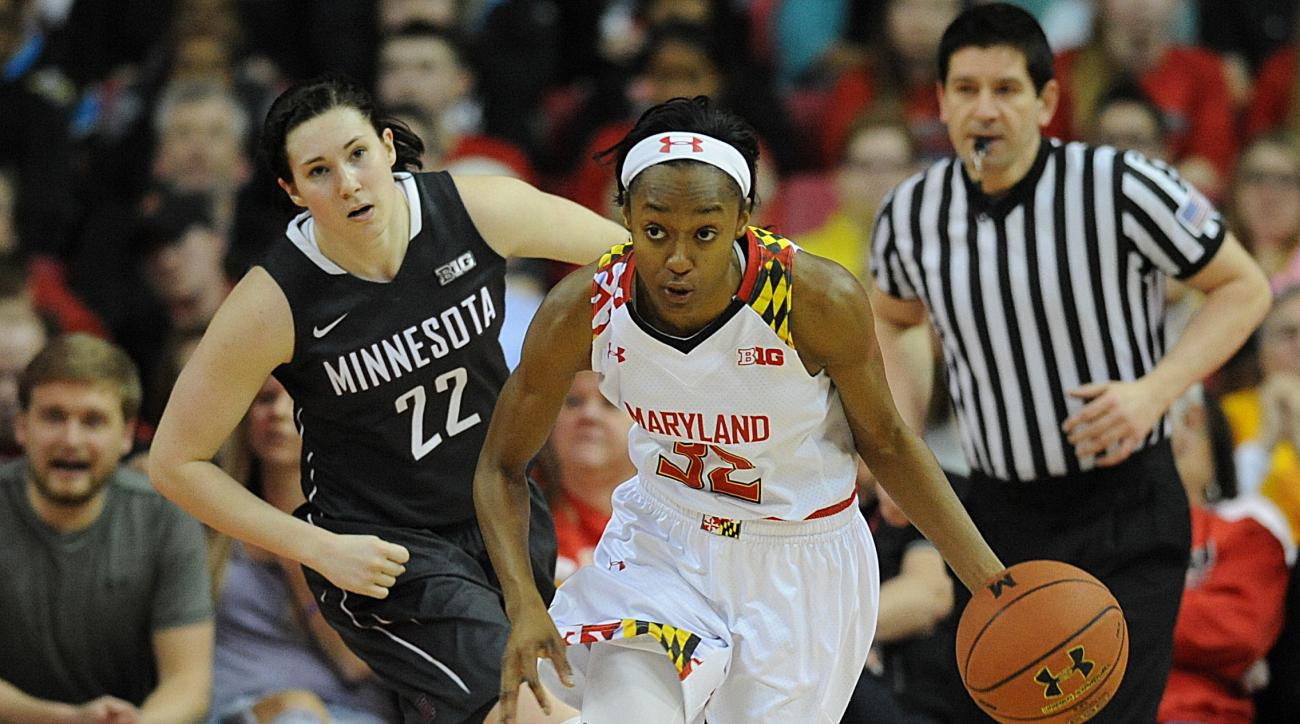 Maryland'sShatori Walker-Kimbrough runs the ball on a fast break ahead of Minnesota's Joanna Hedstrom during the first half of an NCAA college basketball game, Sunday, Feb. 28, 2016, in College Park, Md. (AP Photo/Gail Burton)