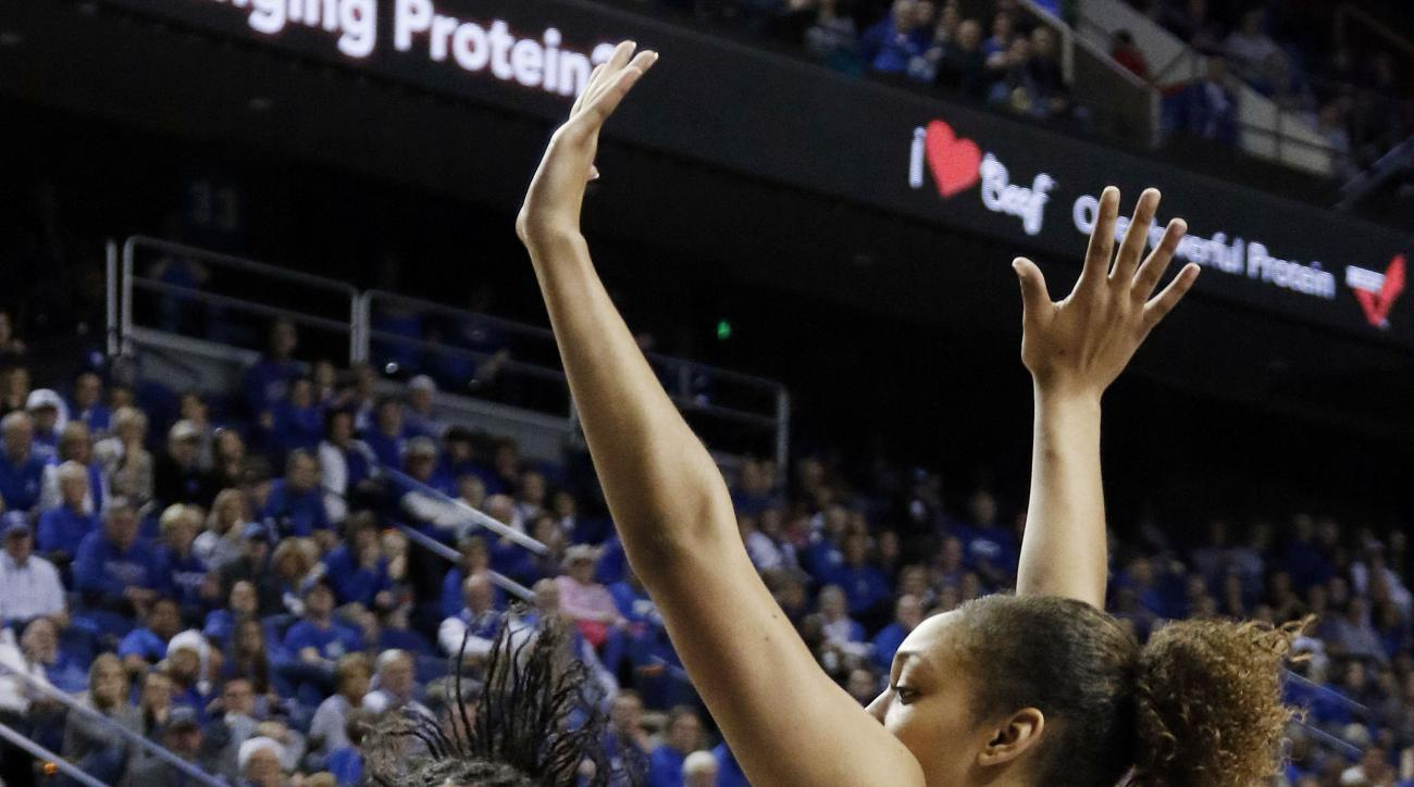 FILE - In this Dec. 20, 2015, file photo, Duke's Azura Stevens, left, looks for an opening on Kentucky's Alyssa Rice during an NCAA college basketball game in Lexington, Ky. The Blue Devils have been to every NCAA tournament since 1995, yet they are in se