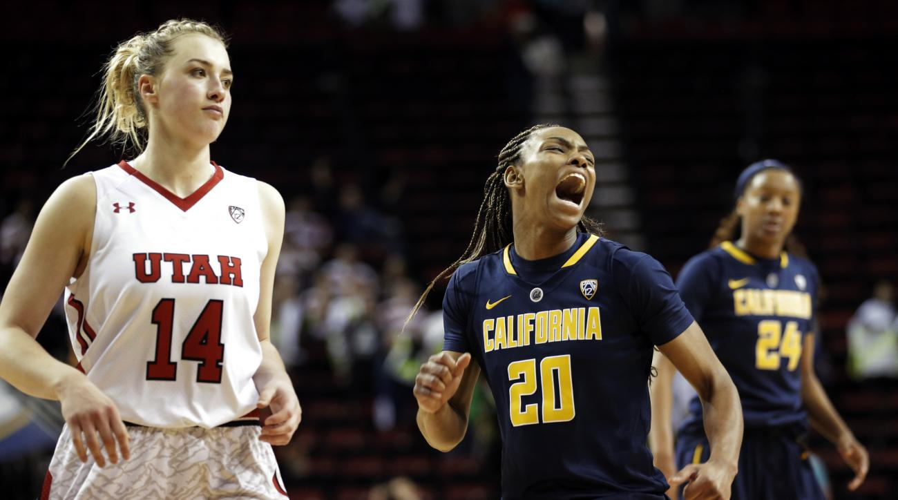 California's MaAne Mosley (20) celebrates at the buzzer next to Utah's Paige Crozon (14) after California beat Utah 66-63 in overtime of an NCAA college basketball game in the Pac-12 Conference tournament, Thursday, March 3, 2016, in Seattle. (AP Photo/Te