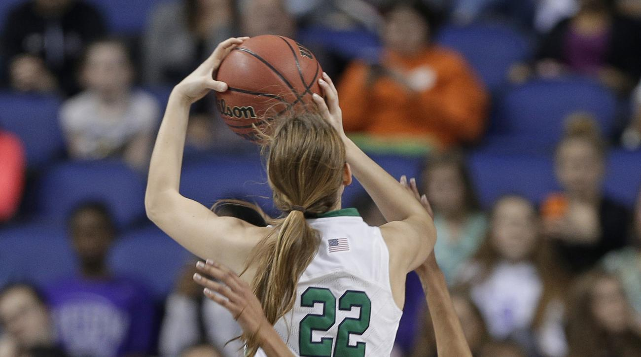 Notre Dame's Madison Cable (22) drives into Syracuse's Briana Day (50) during the first half of an NCAA college basketball championship game in the Atlantic Coast Conference tournament in Greensboro, N.C., Sunday, March 6, 2016. Cable was called for a fou