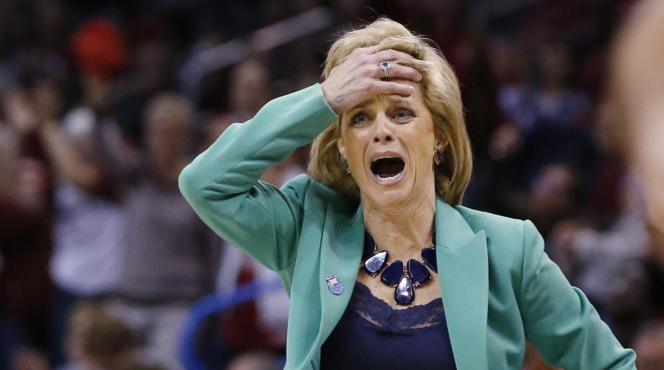 Baylor Bears head coach Kim Mulkey reacts to a call in the second quarter of an NCAA college basketball game against Oklahoma in the Big 12 women's tournament in Oklahoma City, Sunday, March 6, 2016. (AP Photo/Sue Ogrocki)
