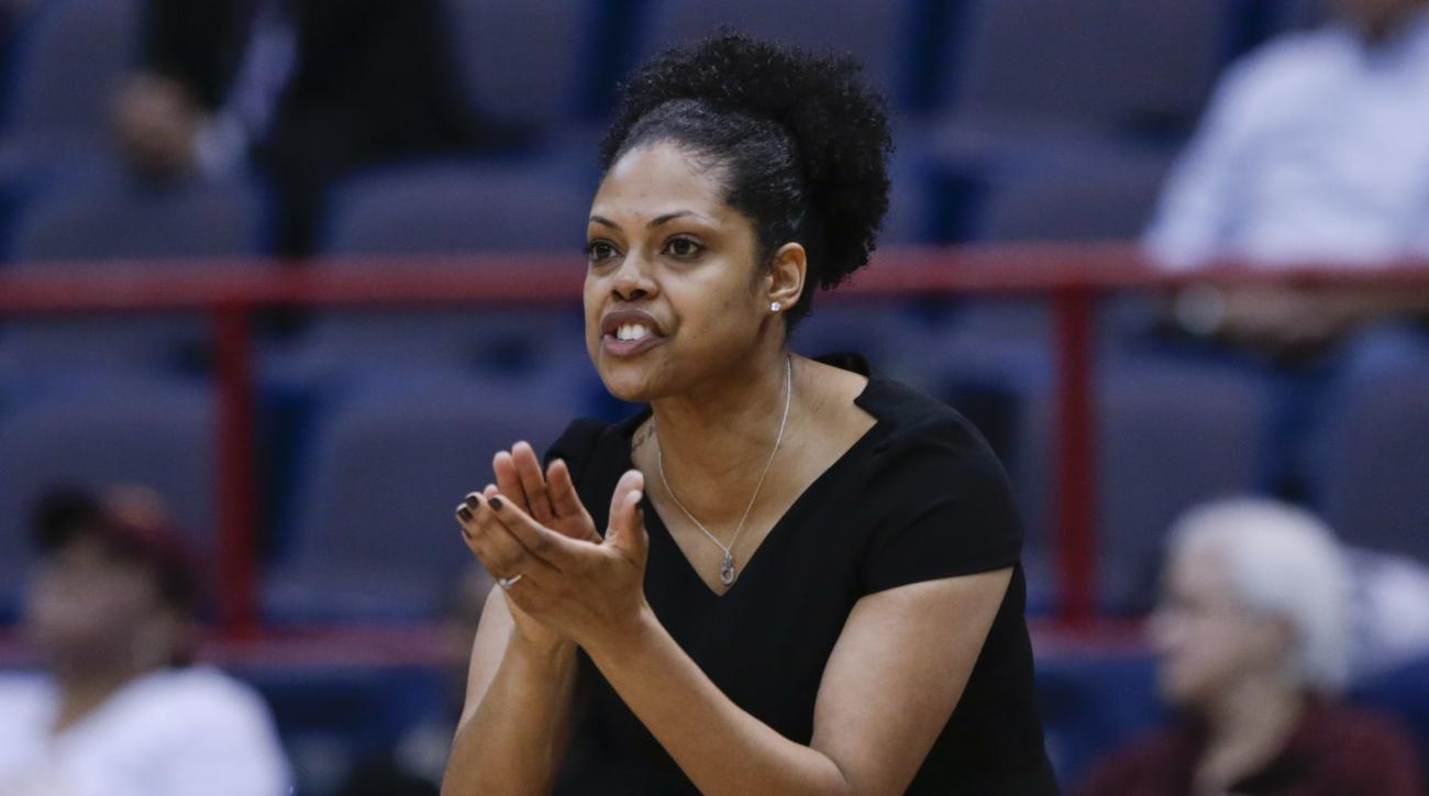 Iona head coach Billi Godsey signals to players during the first half of an NCAA women's college basketball game against Quinnipiac in the championship of the Metro Atlantic Athletic Conference tournament on Monday, March 7, 2016, in Albany, N.Y. (AP Phot