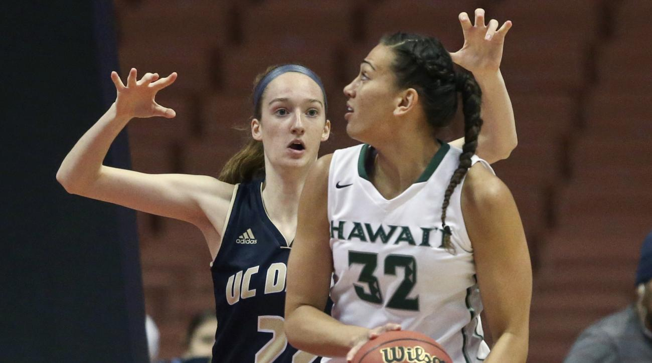 Hawaii center Kalei Adolpho looks for an opening against UC Davis center Morgan Bertsch during the first half of an NCAA women's college basketball championship game of the Big West conference tournament Saturday March 12, 2016, in Anaheim, Calif. (AP Pho