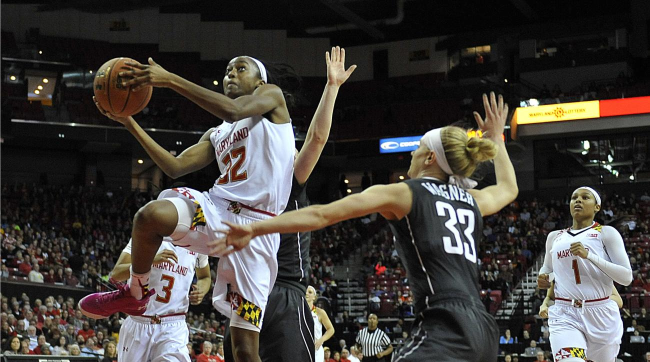 FILE - In this Feb. 28, 2016, file photo, Maryland's Shatori Waker-Kimbrough, left, drives and shoots as Minnesota's Carlie Wagner defends during the first half of an NCAA college basketball game, in College Park, Md. Regardless of how Maryland fares in t