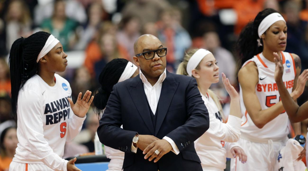 Syracuse head coach Quentin Hillsman walks near the team bench during the first half of a first-round women's college basketball game against Army in the NCAA Tournament on Friday, March 18, 2016, in Syracuse, N.Y. (AP Photo/Mike Groll)