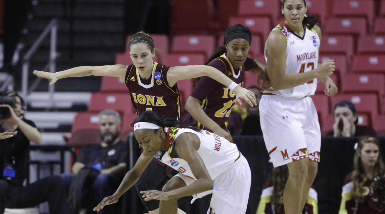 Maryland guard Shatori Walker-Kimbrough, center, tries to maintain control of the ball as she is guarded by Iona guard Marina Lizarazu in the first half of an NCAA college basketball game in the first-round of the NCAA tournament, Saturday, March 19, 2016